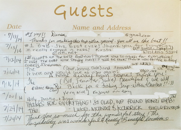 Kenai Bed and Breakfast guestbook page 1